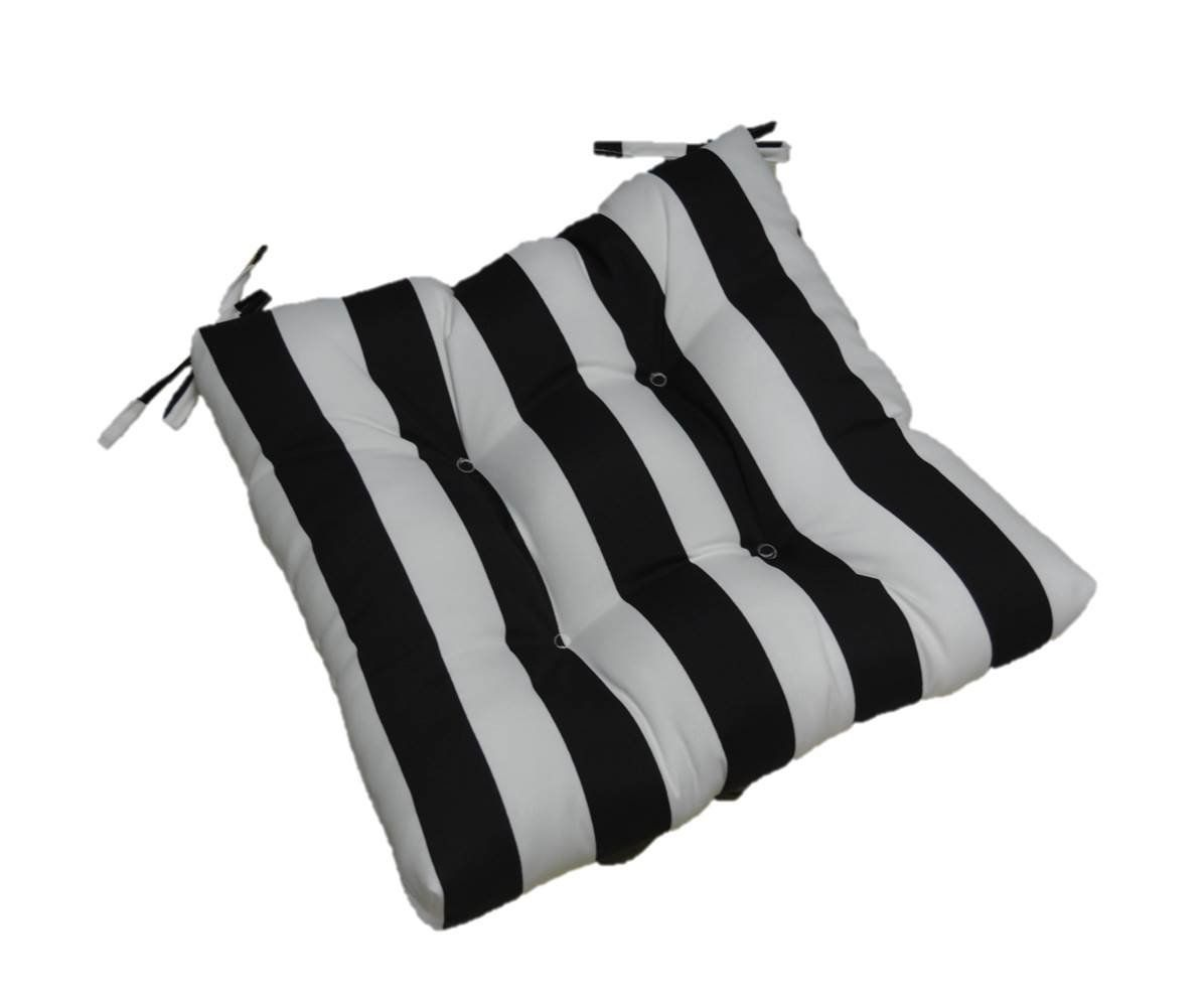 wicker chair cushions with ties ergonomic new zealand amazon com indoor outdoor black and white stripe universal tufted seat cushion for dining patio choose size 17 1 2 x