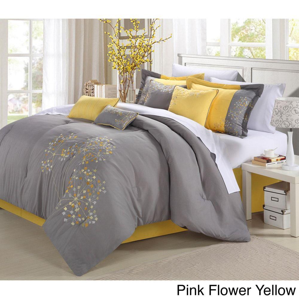 Floral 8 Piece Comforter Set Yellow Queen Grey Bedroom