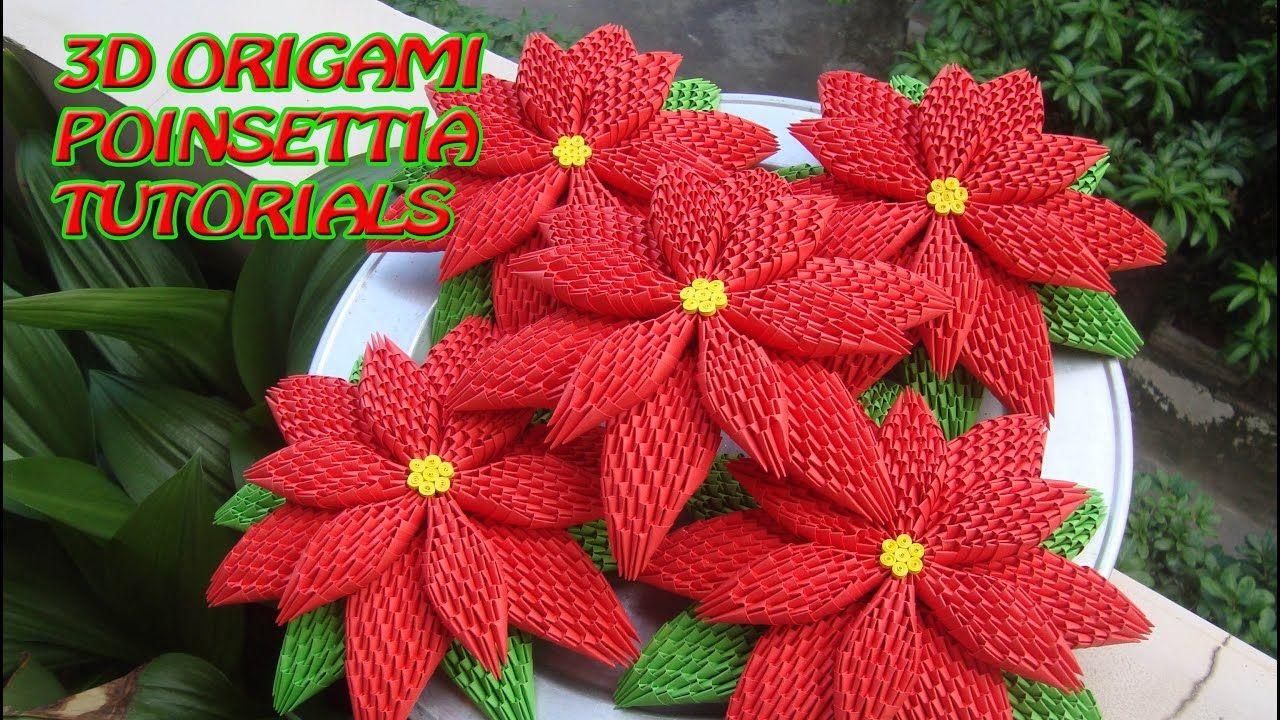 How To Make 3d Origami Poinsettia Diy Poinsettia Christmas