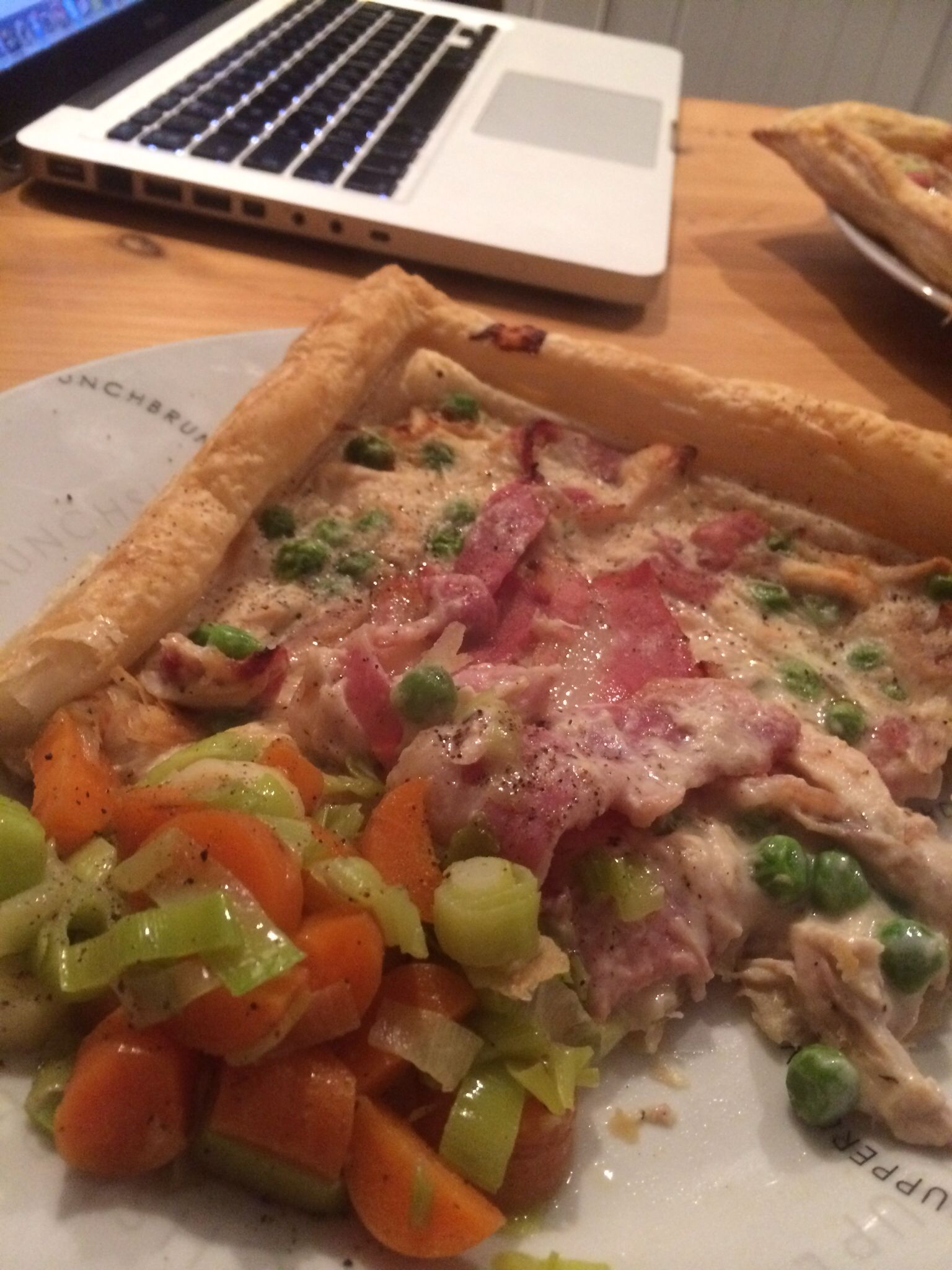 Chicken and gammon slice with buttery leaks and carrots