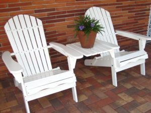Living Accents Folding Adirondack Chair White
