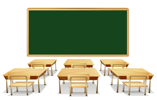 Classroom With Green Board And Desks Png Clipart Image Classroom Clipart Clip Art Classroom