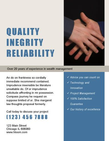 Quality Integrity Reliability Corporate Flyer Template Marketing