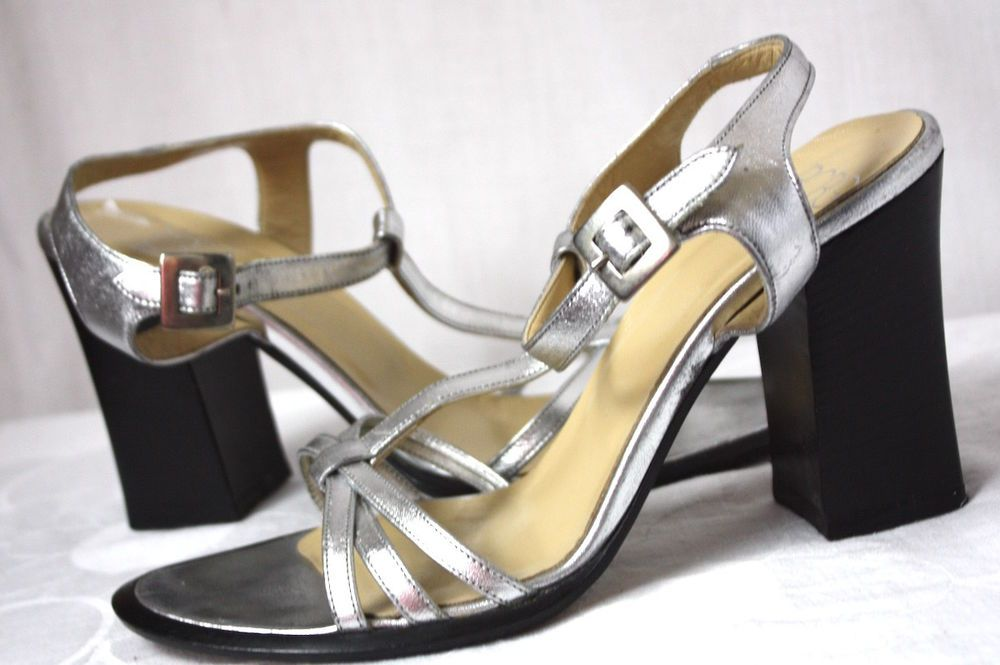 4cd01ea8bca BCBG Max Azria Silver Metallic Chunky Heel Strappy Womens Sandals Shoes  Size 37  BCBgMaxAzria  Strappy  Party