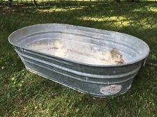 Large Vintage Wheeling Galvanized Oval Wash Tub 42 X 24 Wash