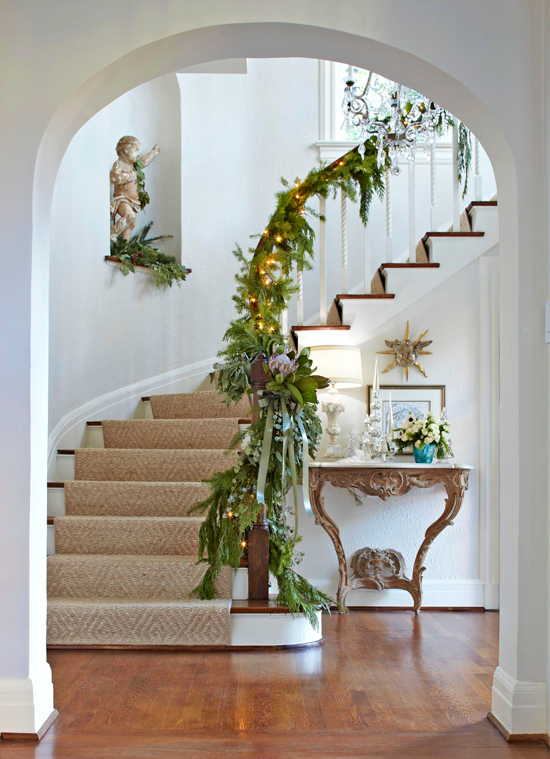Festive Holiday Staircases And Entryways Holiday Decorations