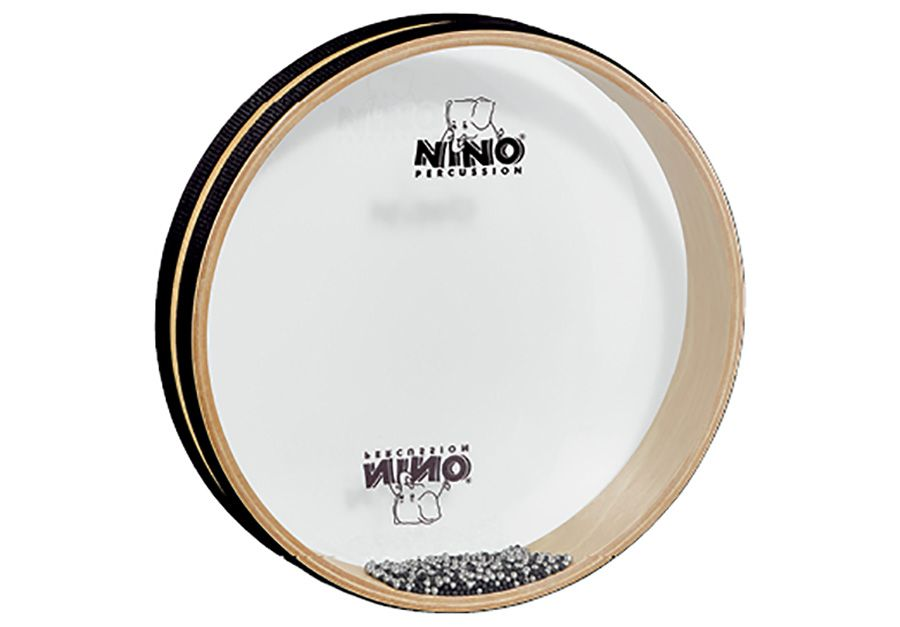 """OCEAN DRUM 10"""" - Has hundreds of tiny metal balls enclosed between two clear mylar heads. By holding the drum horizontally and gently rolling it, you create the sounds of the ocean surf. From Nino Percussion. 10"""""""