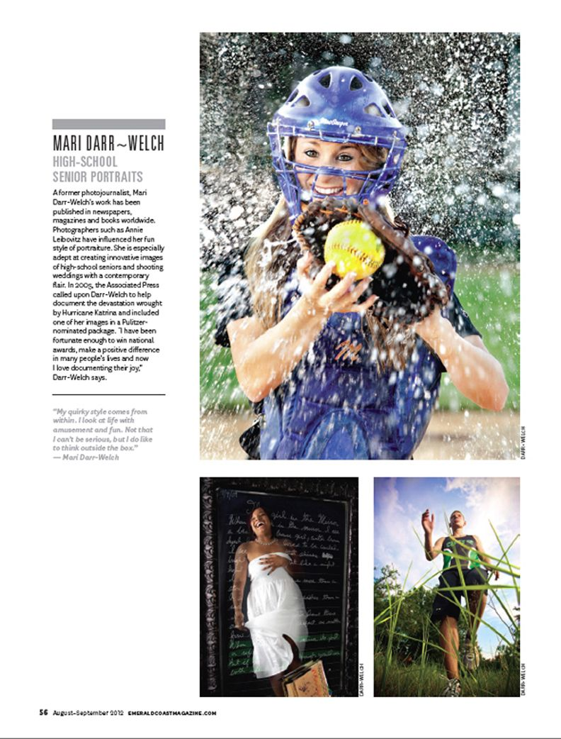 Yay, We were featured for our unique Senior Portrait style in Emerald Coast Magazine this month!