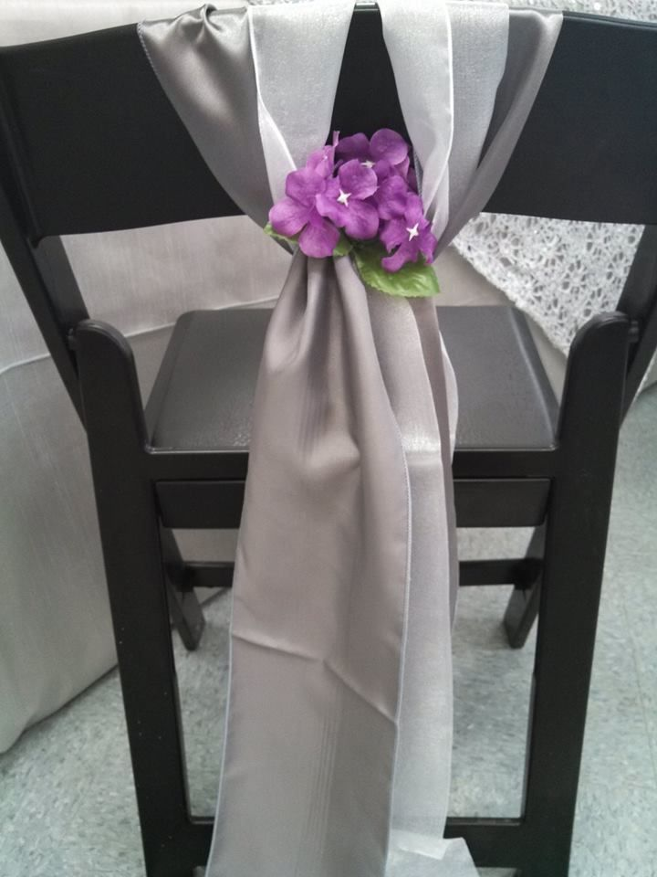 Satin Silver U0026 Organza Sashes Are Looking Lovely On This Black Folding Chair !