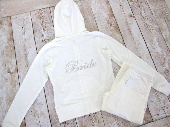 Bride Tracksuit Jacket Pant Set Wifey White Cotton Sweatsuit Just Married Bridesmaid