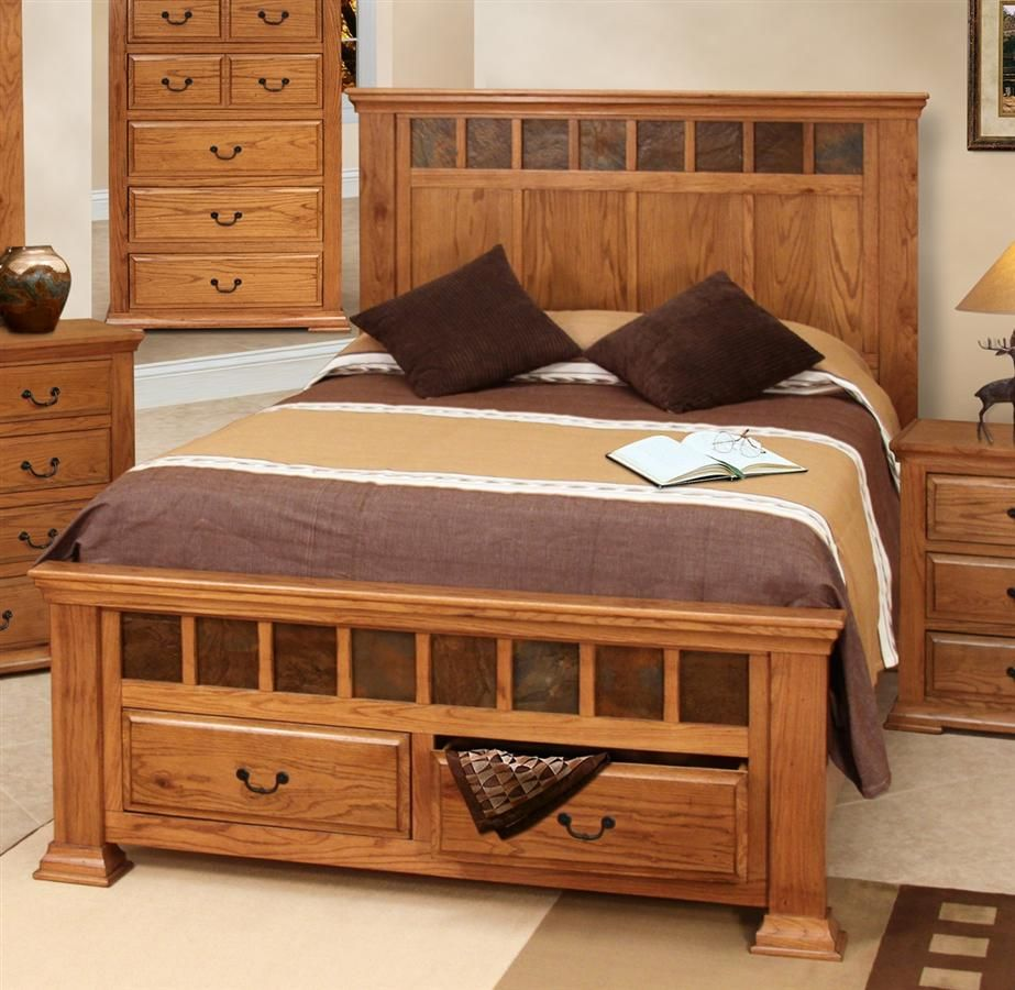 Stone Ridge Storage Rustic Panel Bed Oak bedroom