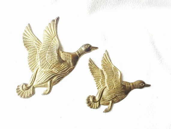 VINTAGE BRASS DUCK Wall Decor Large and small flying duck decal | My ...