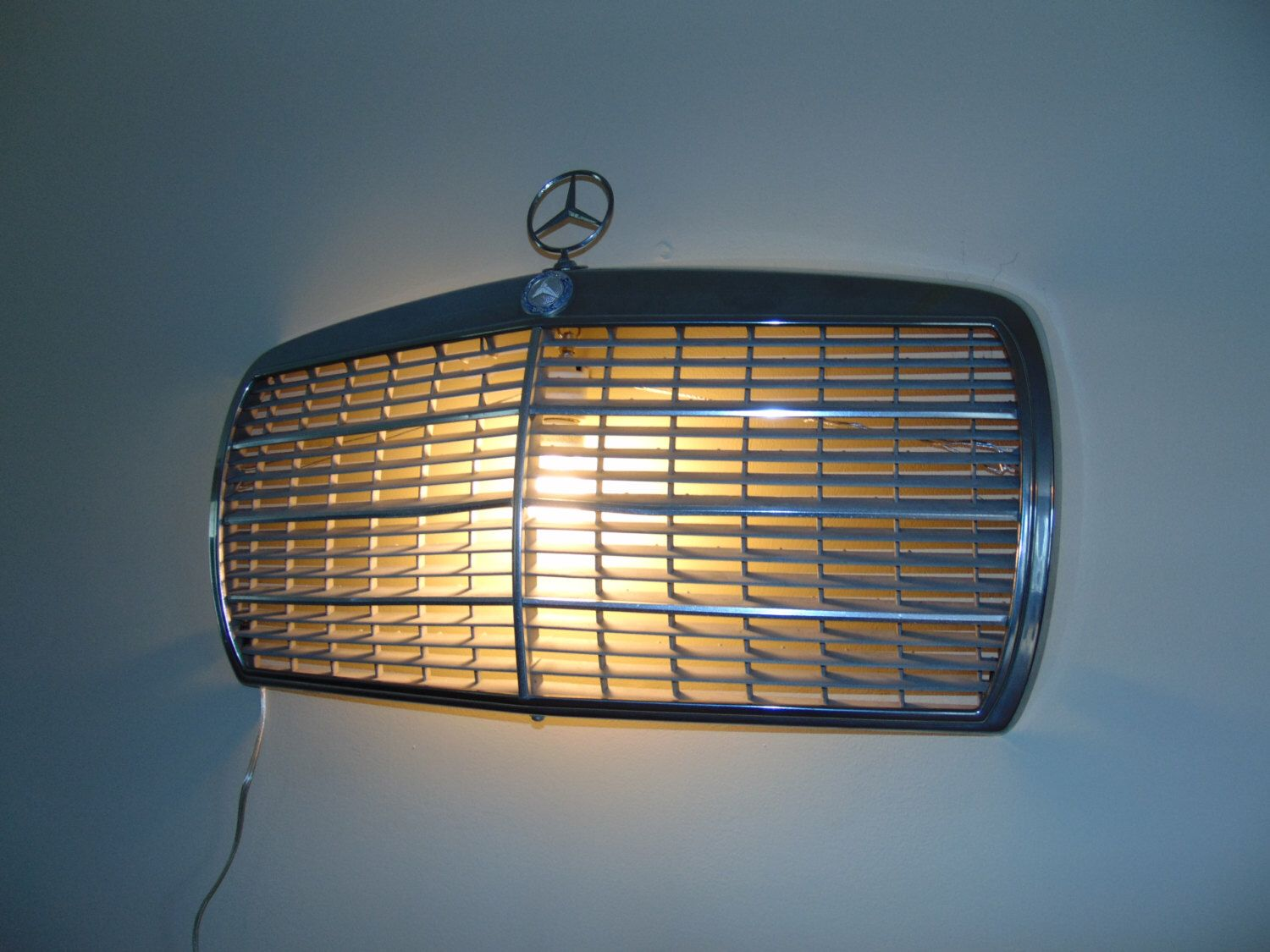 Vintage Mercedes Benz Chrome Grille Wall Light Scone