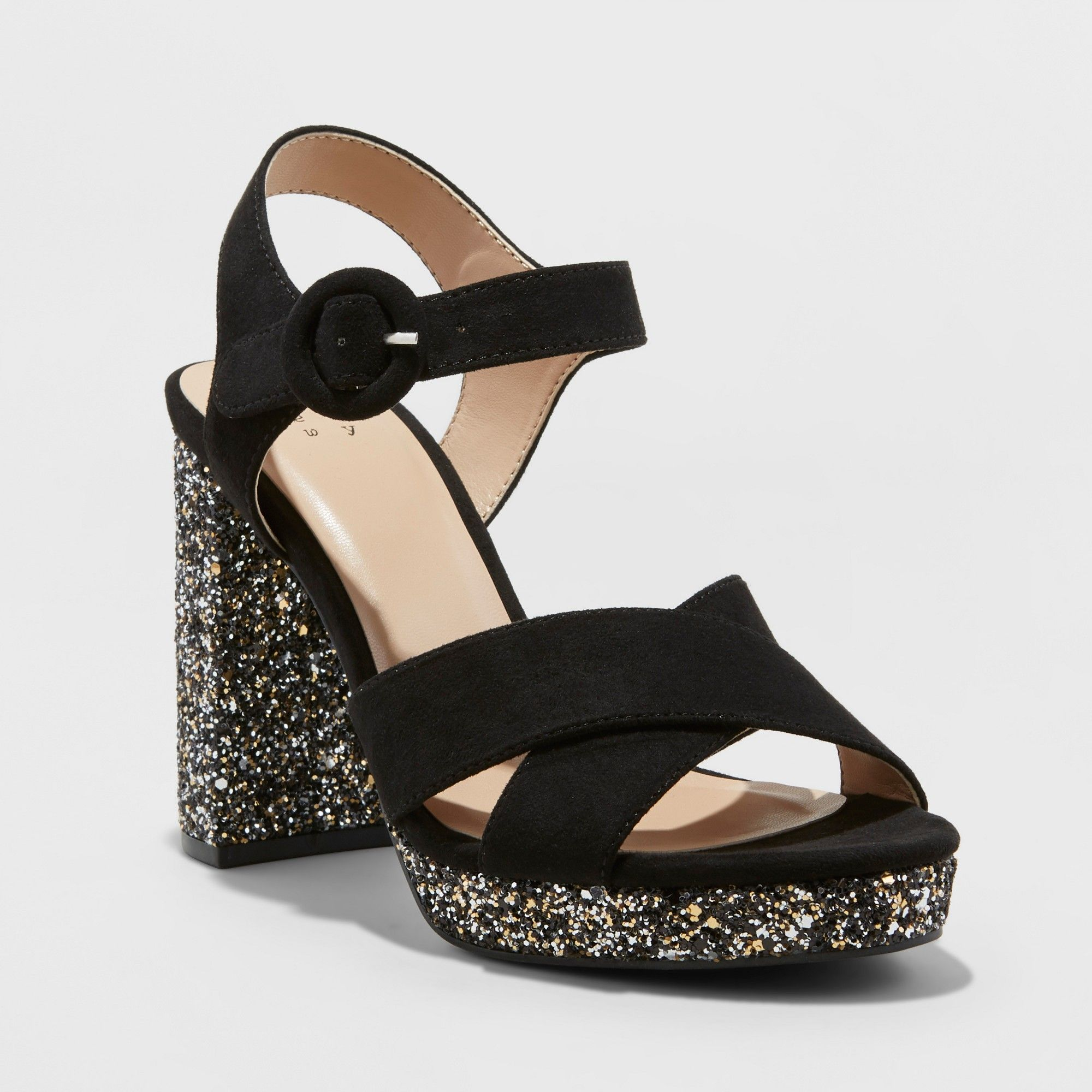 dcce7b61b Women's Fiona Glitter Crossband Platform Quarter Strap Sandal - A New Day  Black 12