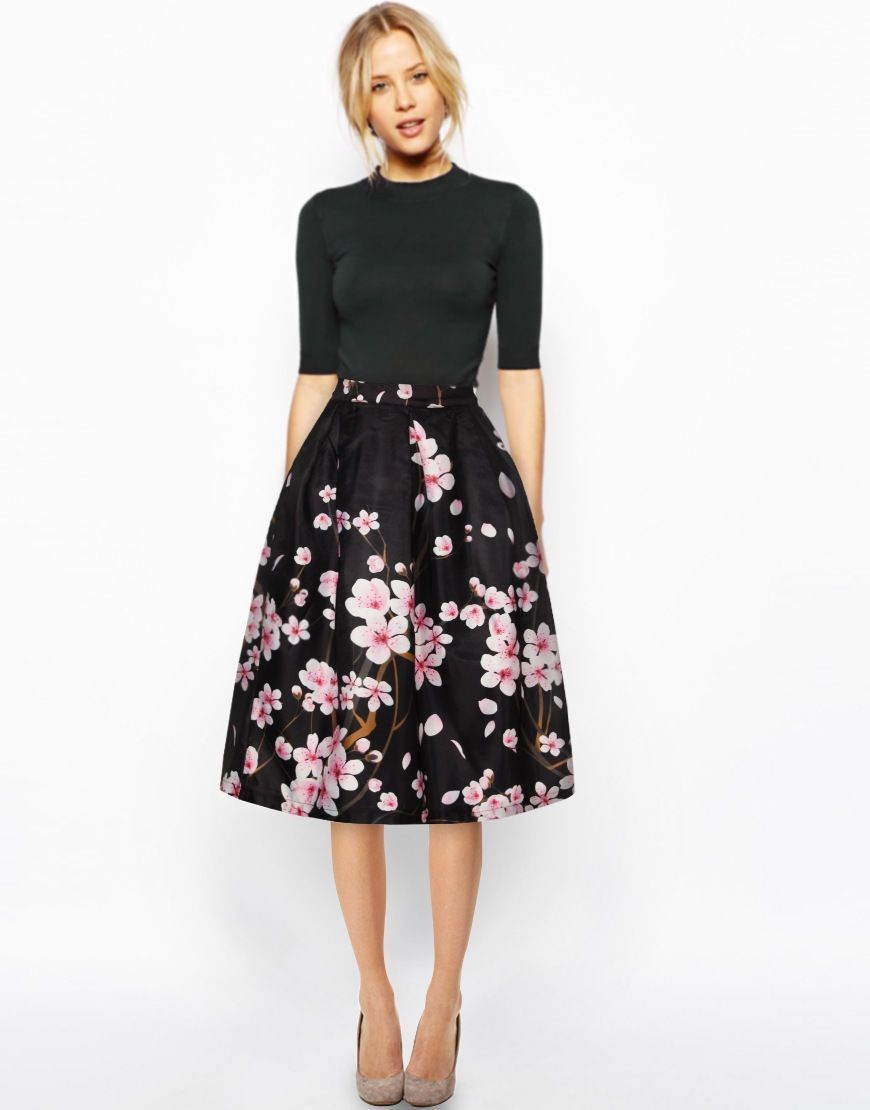 ab69836db1ab D364-M Pink Flower Black Pleated Skirt A-Line Skirt High Elastic Skirt S-Xl