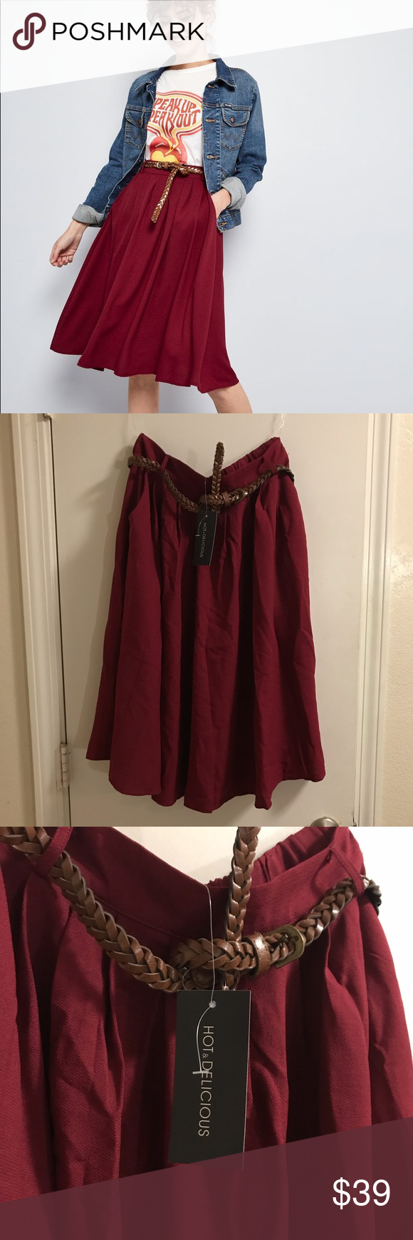 fef280c04 ModCloth Breathtaking Tiger Lilies Skirt Merlot Sm Brand new with tags! Breathtaking  Tiger Lilies Skirt