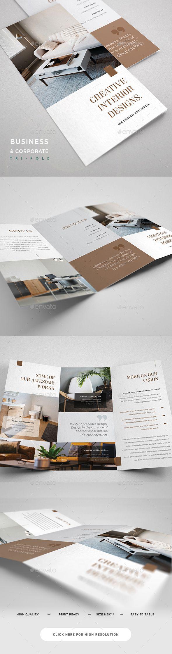 Interior Design Trifold Brochure Template Psd Download Https Graphicriver Net Item Interi Brochure Design Corporate Brochure Design Architecture Brochures