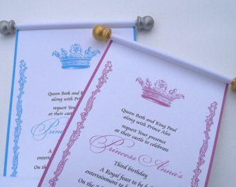 Reserved royal princess birthday party scroll par artfulbeginnings princess birthday invitation scroll royal by artfulbeginnings filmwisefo Images