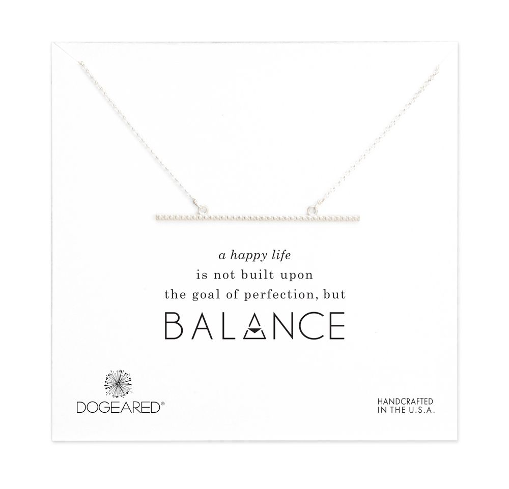 Balance large textured straight bar necklace, sterling silver
