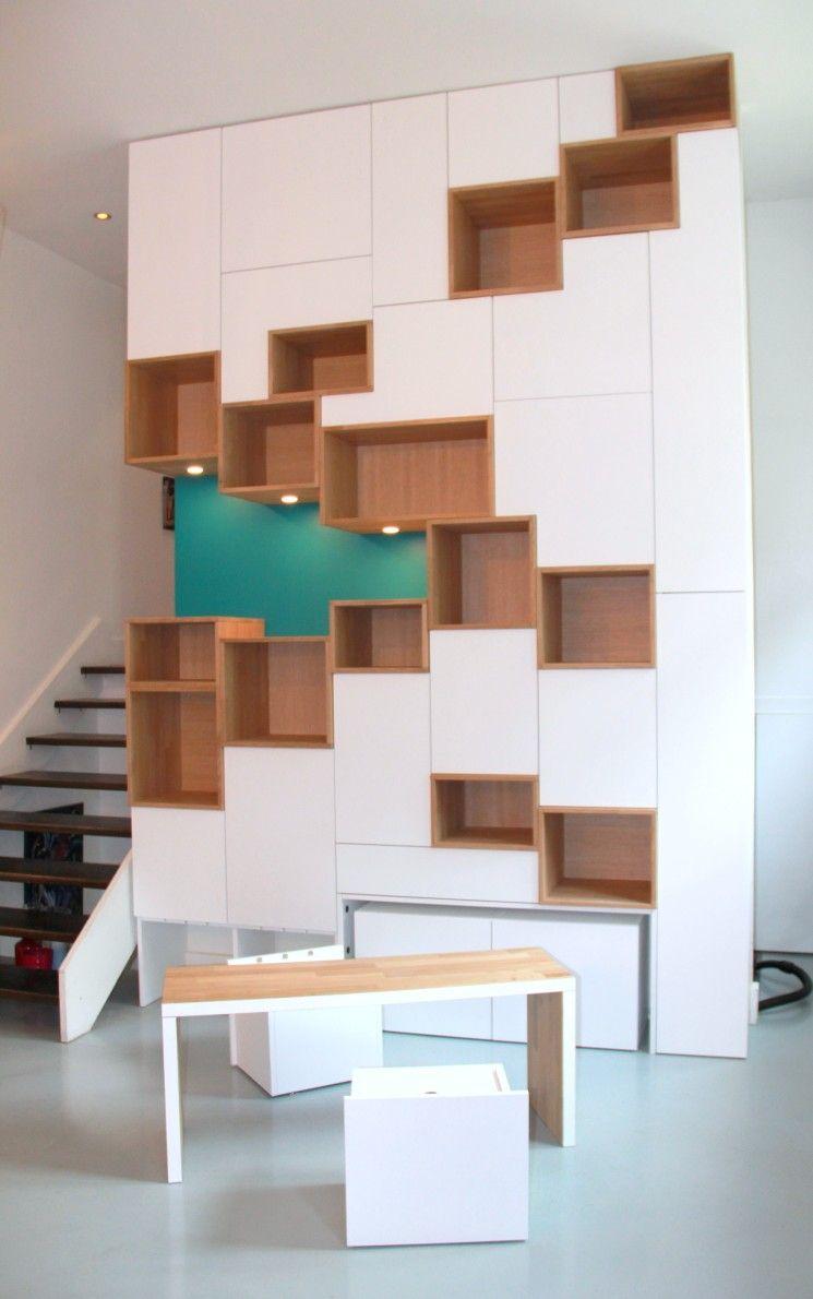 Mur De Rangement Salon mural de rangement de 3m50 de haut cevek design - grenoble