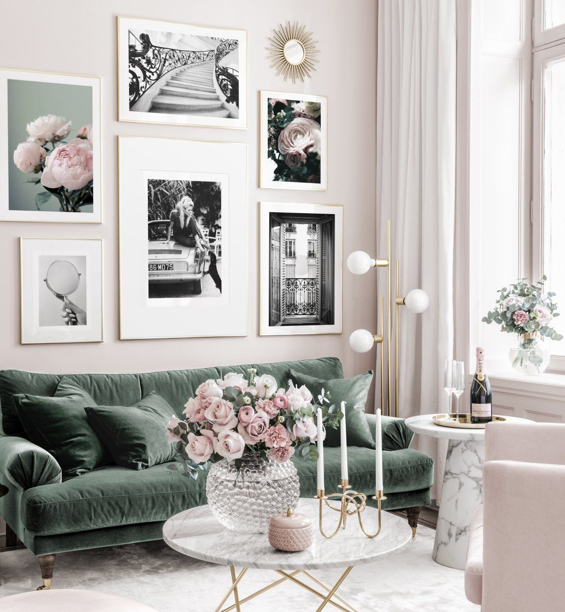 Fashionable Black White Gallery Wall Pink Flowers Brigitte Bardot Golden Frames Gallery Wall Inspiration Posters Living Room Decor Room Decor Bedroom Decor Room color fashionable inspiration