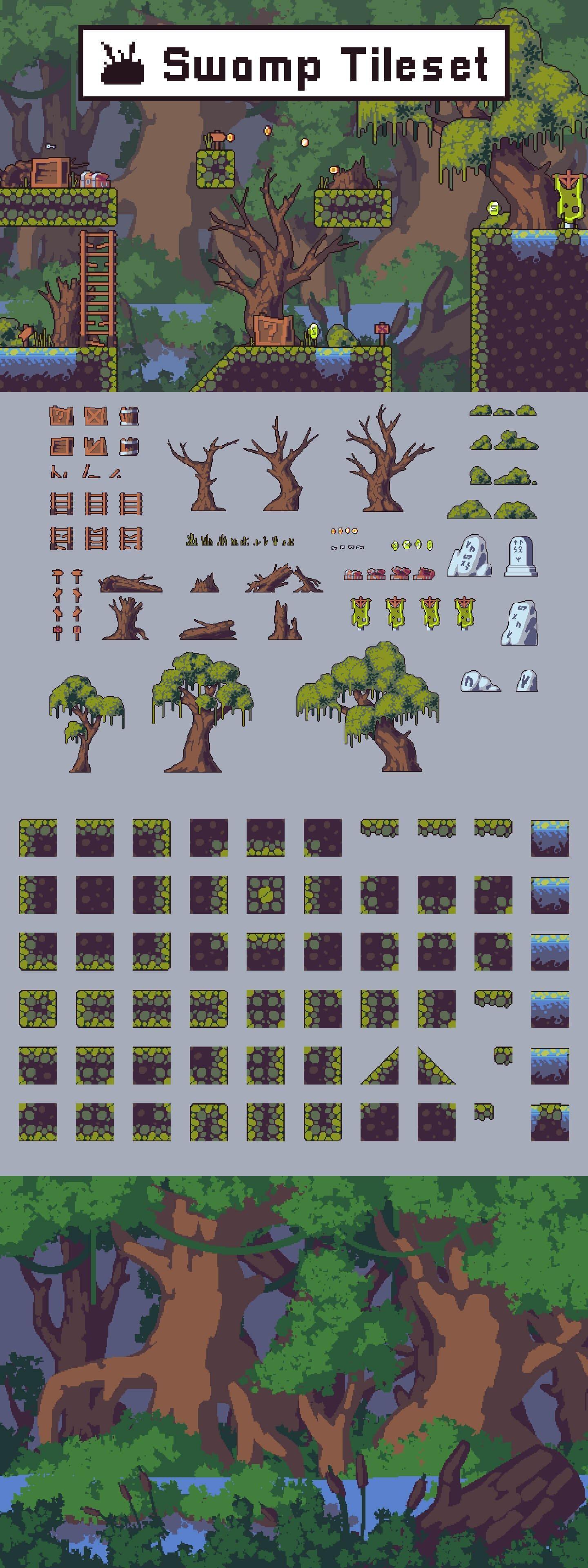 Photo of Juego de pantano gratis tileet pixel art – CraftPix.net