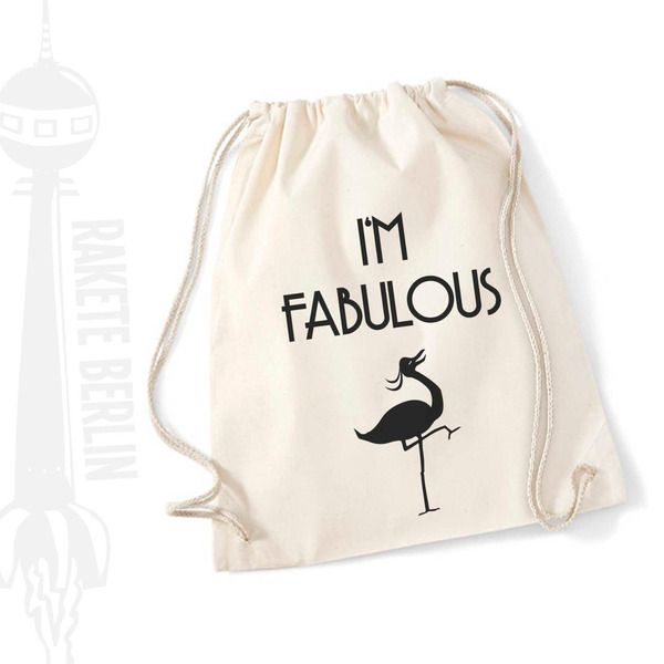 Turnbeutel 'I'm fabulous' von RaketeBerlin auf DaWanda.com