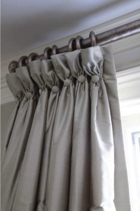 Gray Valances With White Trim : Grey curtains with soft goblet pleat heading and button