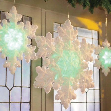 LED Lighted Flocked Snowflakes-Set of 3