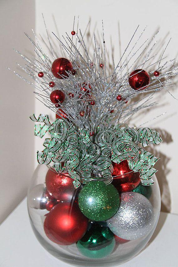 Centro de mesa de navidad rojo verde y plata holiday decor - Adornos navidenos para mesas ...