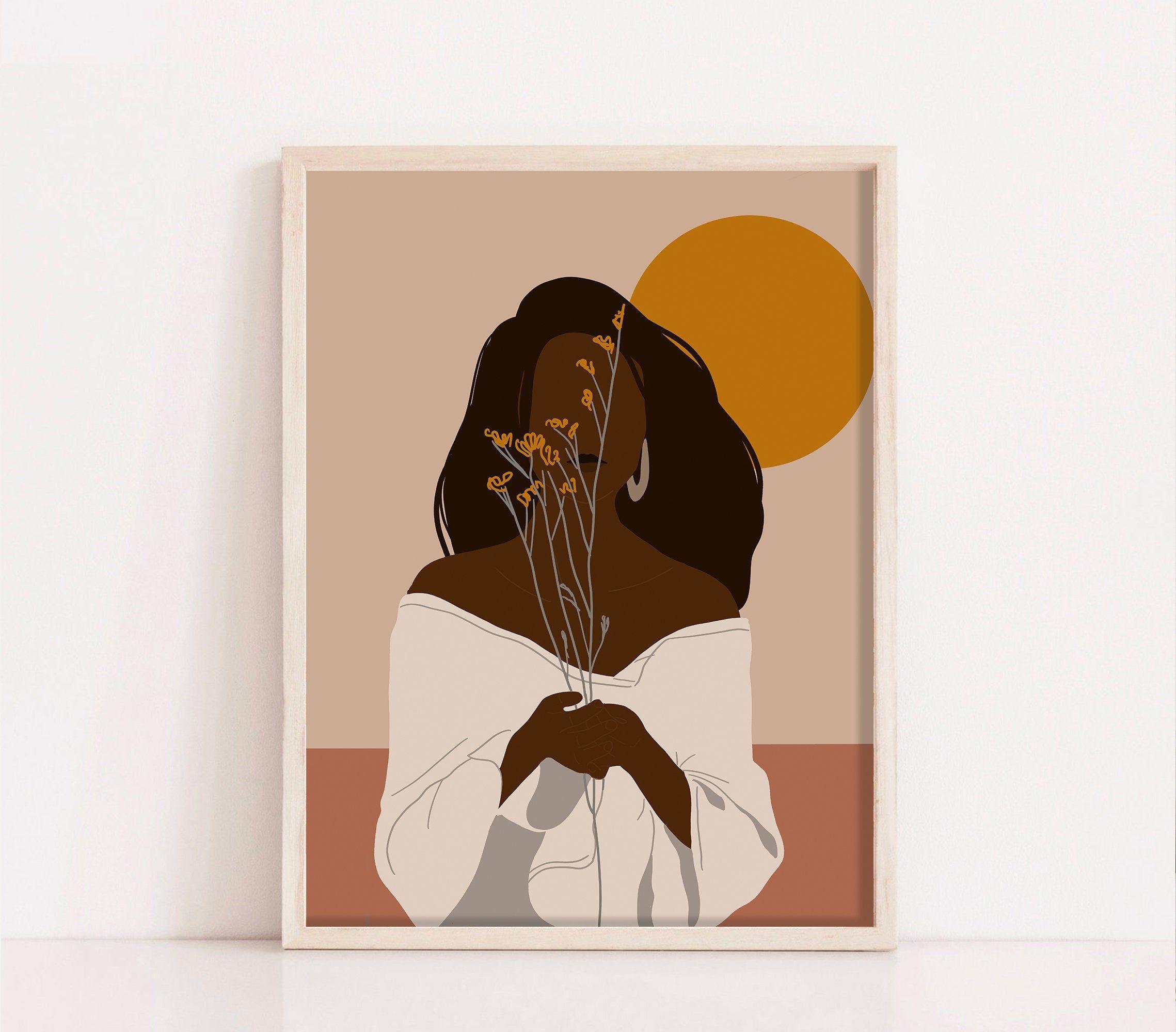 Black Woman Abstract Art African Woman Art Print Mid Etsy African American Art African Women Art American Art