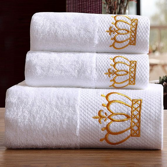 Face Towel Dream Meaning: Ensemble De 3 Serviettes De Bain : 2 Broderies : Couronne