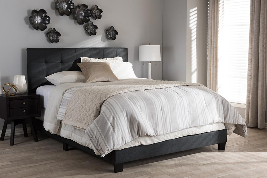 Baxton Studio Cf8747b-charcoal-full Brookfield Modern And Contemporary Charcoal Grey Fabric Full Size Bed images