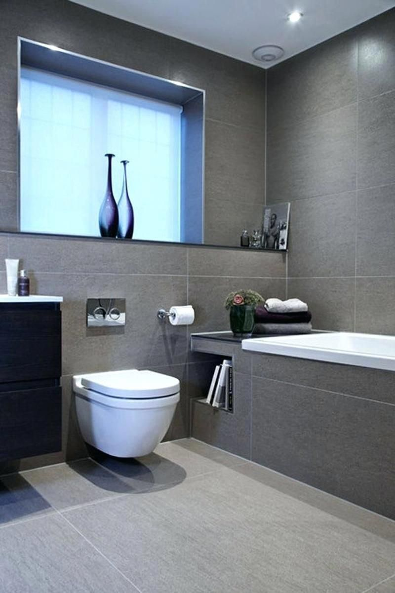 Built In Niche The Bathroom Wall For Newspaper Holder Smallbathroomideascolors Gray Tiles