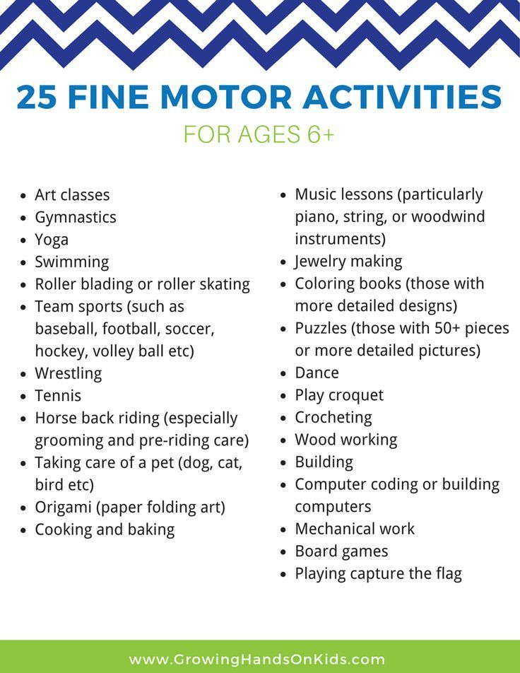 25 Fine Motor Activities for Older Kids (Ages 6+) | Motor activities ...