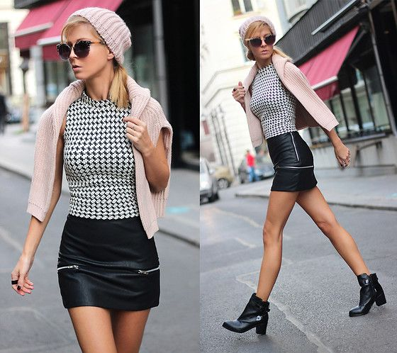 Stradivarius Houndstooth Print Crop Top, Choies Mini Black Skirt ...