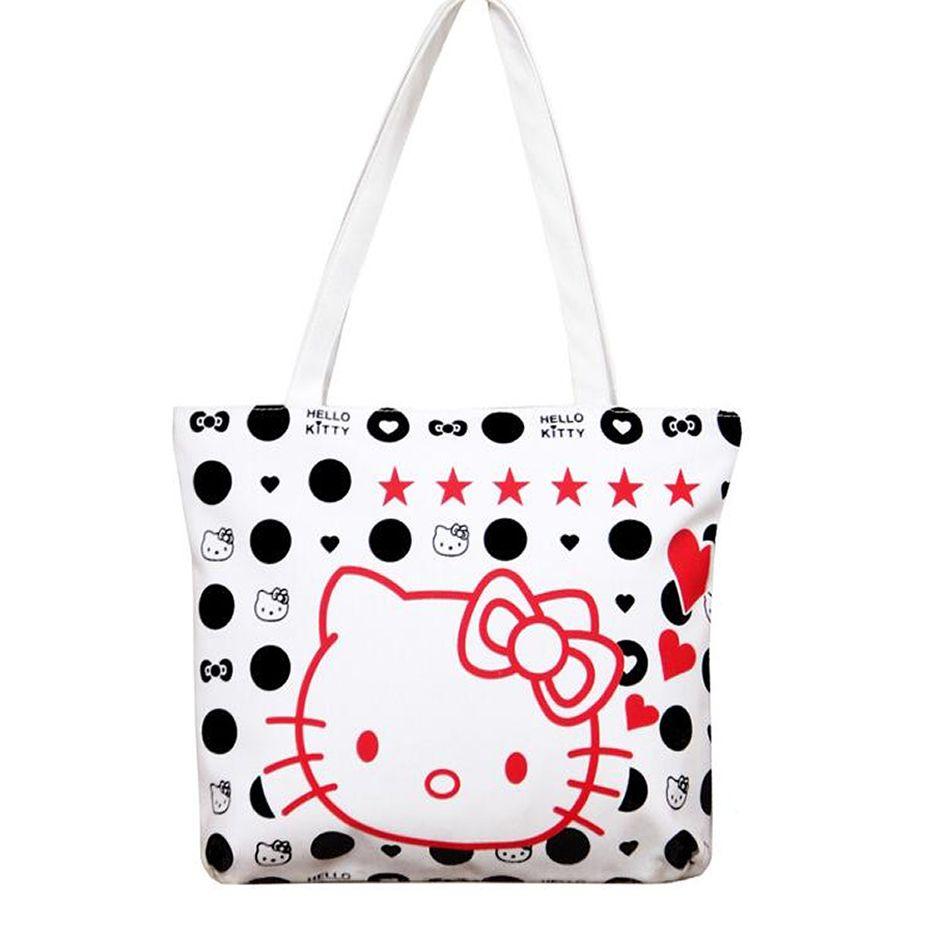 Fashion Large E Women Canvas Handbag Zipper Ping Shoulder Bag Paris O Kitty Pattern S Beach Bookbag Casual Tote Price 13 96 Free