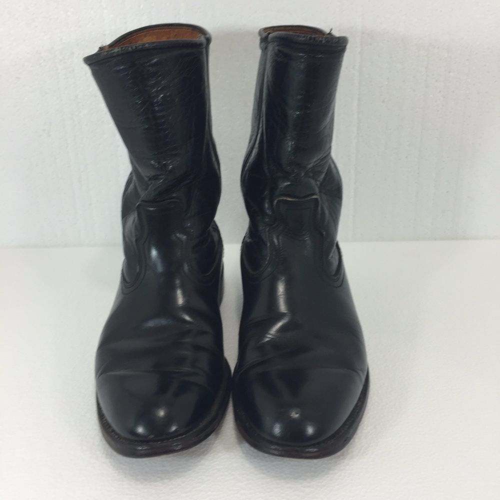 Justin Black Leather Cowboy Western Boots Mens 8 5 D Made In Usa