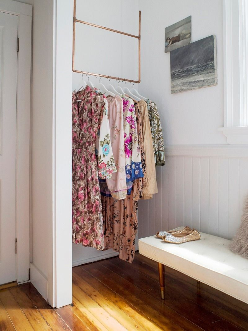 How To Diy A Ceiling Mounted Clothes Rack In 3 Easy Steps In 2020 Clothes Storage Without A Closet Diy Clothes Hanger Rack Small Bedroom Storage