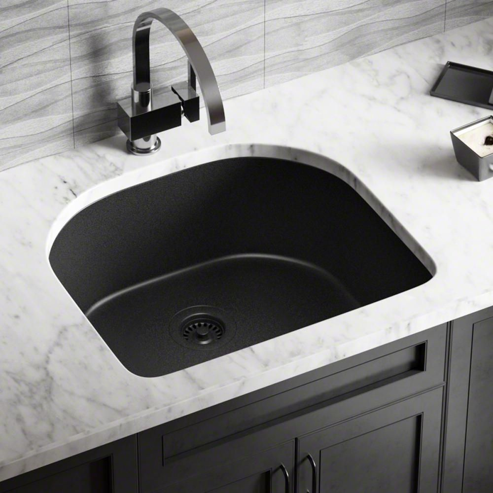 MR Direct All-in-One Undermount Granite Composite 24.75 in ...