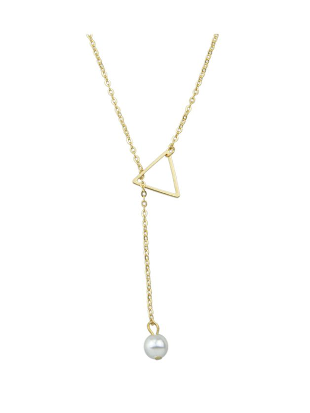 Gold Simple Imitation Pearl Adjustable Chain Necklace — 0.00 ...