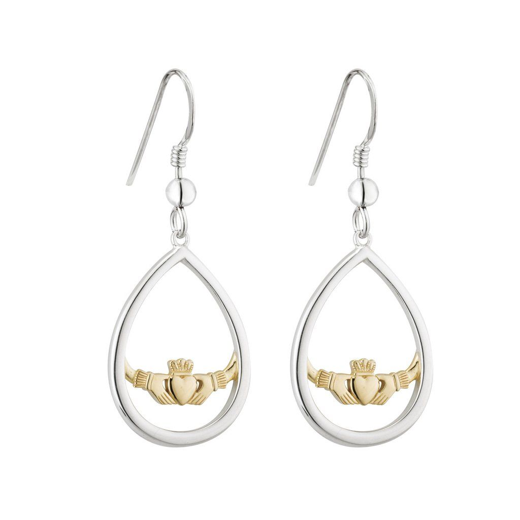 Claddagh Drop Earrings Sterling Silver Gold Plated Irish Made