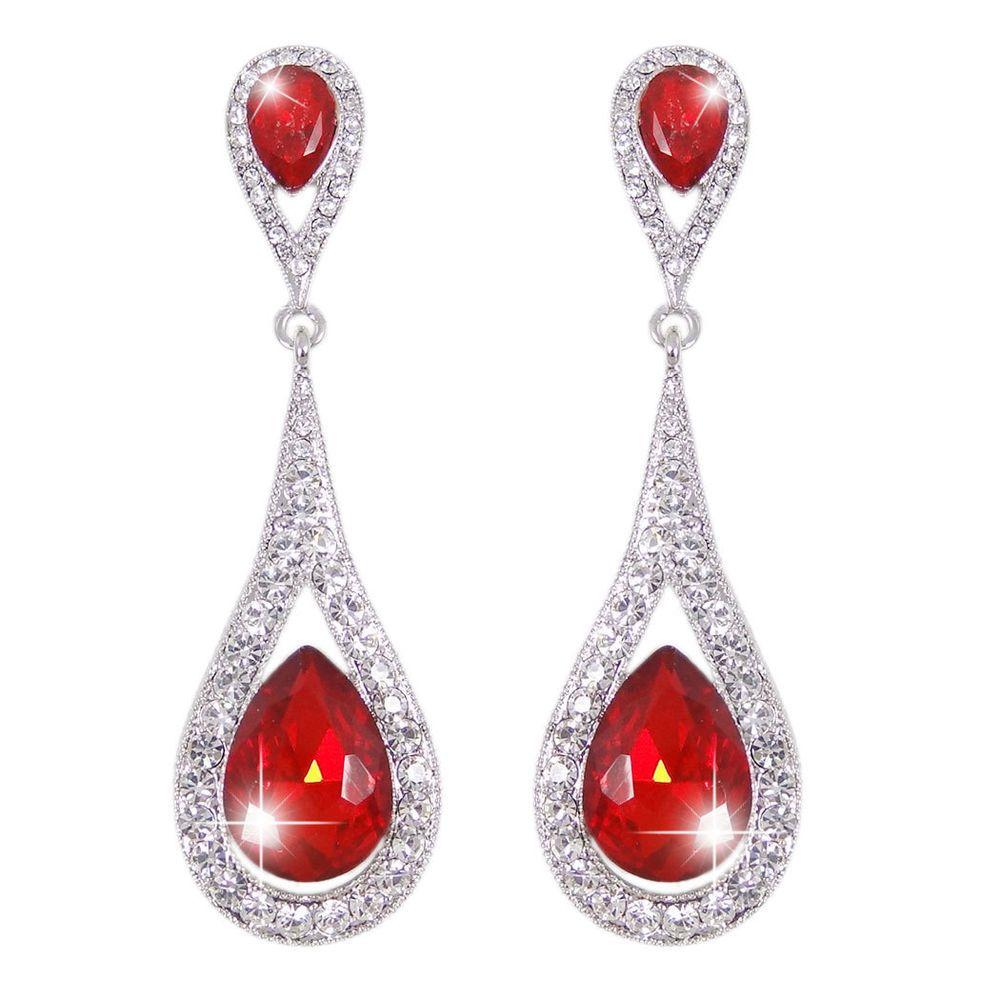 Luxury teardrop oval chandelier earrings pierced red rhinestone luxury teardrop oval chandelier earrings pierced red rhinestone crystals chandelier arubaitofo Choice Image