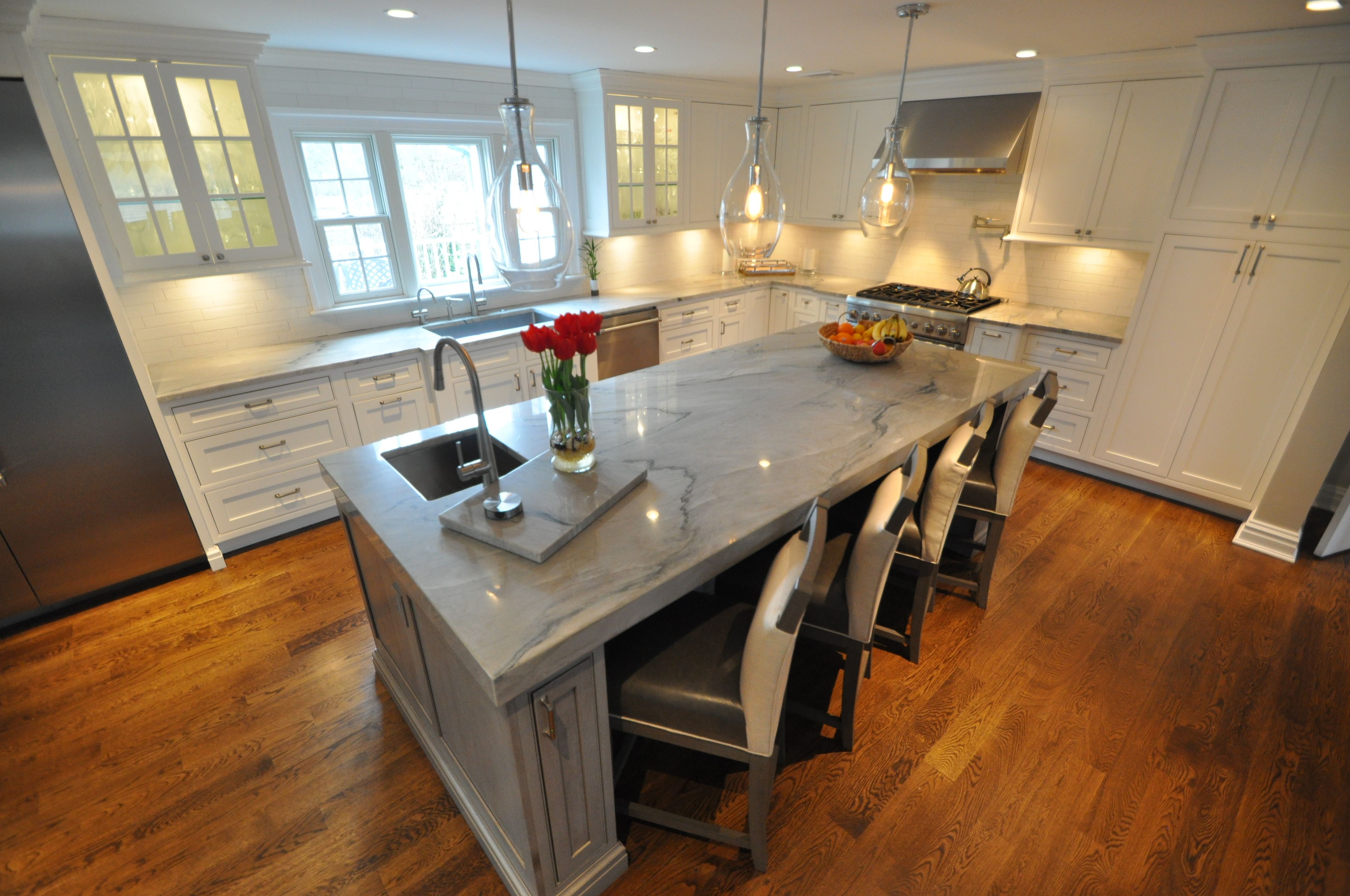 Kitchen Cabinet Showrooms On Long Island Quartzite Countertops With 3 Quot Mitered Edge Around Entire 9
