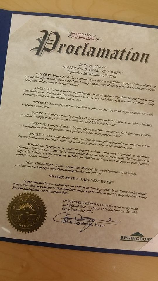 Springboro, OH- Mayoral proclamation recognizing Diaper Need Awareness Week (Sep. 26-Oct. 2, 2016) #DiaperNeed Diaperneed.org
