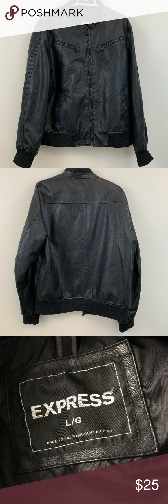 Express Mens Black Faux Leather Bomber Jacket L Faux Leather Bomber Jacket Faux Leather Bomber Leather Bomber Jacket [ 1740 x 580 Pixel ]