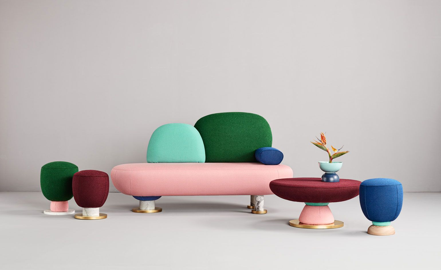 The Valencia-based studio Masquespacio have unveiled their debut collection for Spanish furniture and upholstery brand Missana.  Inspired by the Memphis movement of the 1980s (and more specifically Michael Graves' graphic architecture,) the 'Toadstool'...