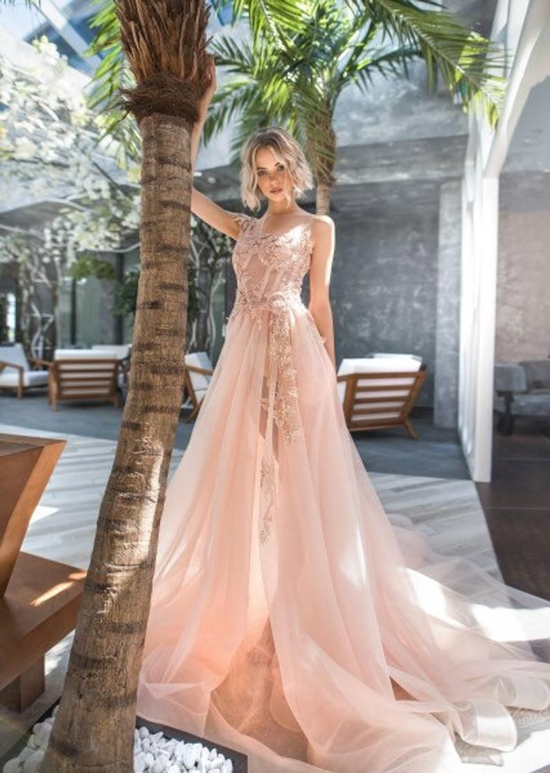 3d Lace Dress Peach Stylish Elegant Wedding Dress Ivory Blush Etsy In 2020 Peach Wedding Dress Wedding Dresses Blush Blush Pink Wedding Dress