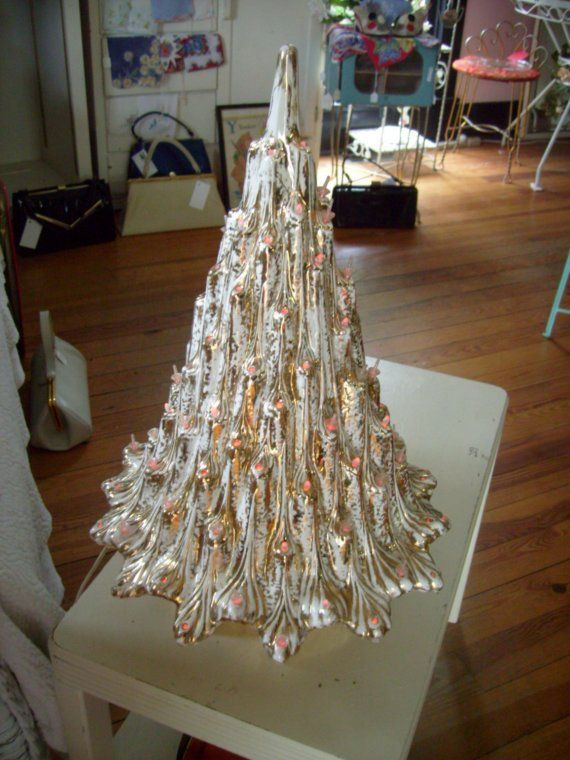Vintage White And Gold Ceramic Christmas Tree 19 Inch Tall Ceramic Christmas Trees Vintage Ceramic Christmas Tree Ceramic Christmas Tree Lights