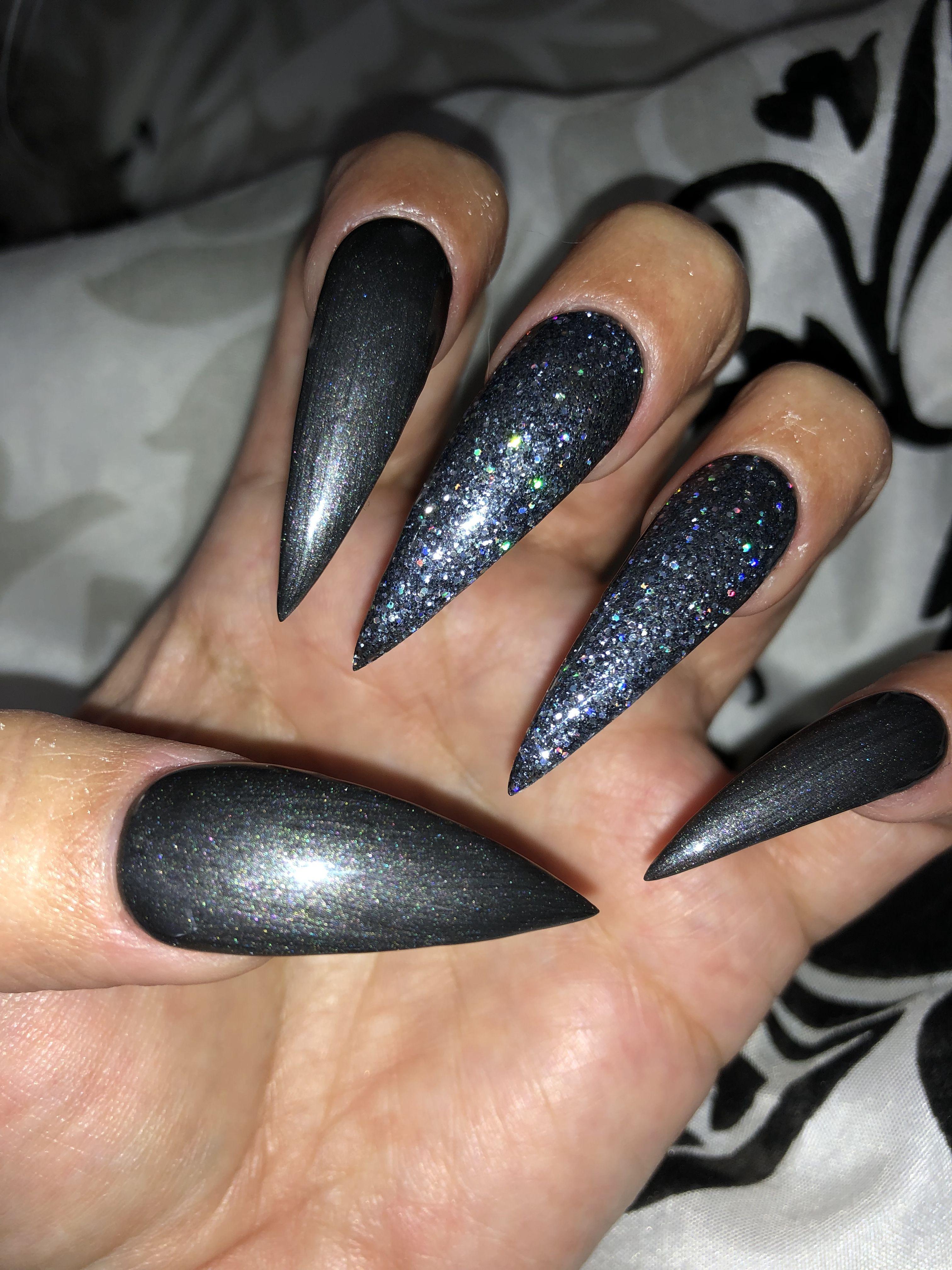 Dark grey with glitter #stilettonails | Nails, Cute nail ...